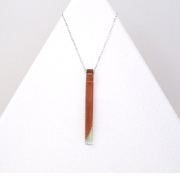 Glass bar pendant necklace on 32 inch sterling silver chain in green and pink tints