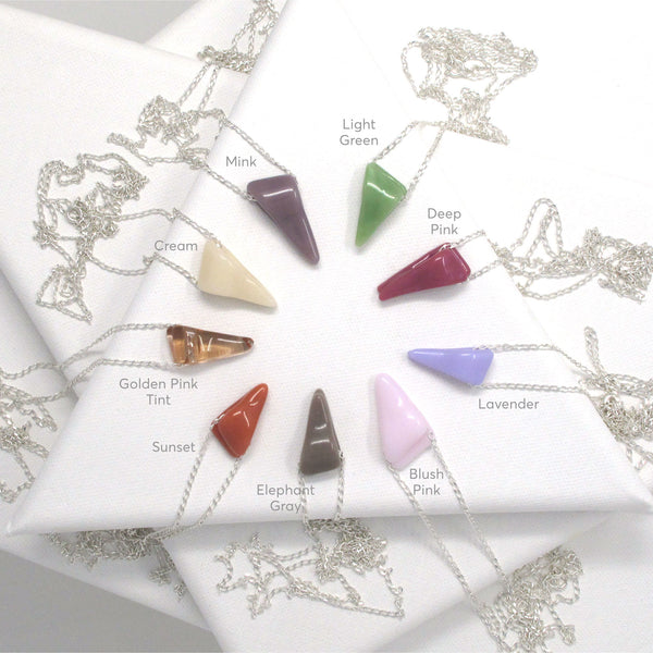 Wedge Pendant Necklace — Various Colors