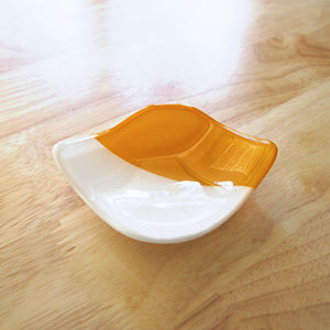 Katie Kismet yellow and white catchall dish for rings, candles, cone incense (top view)