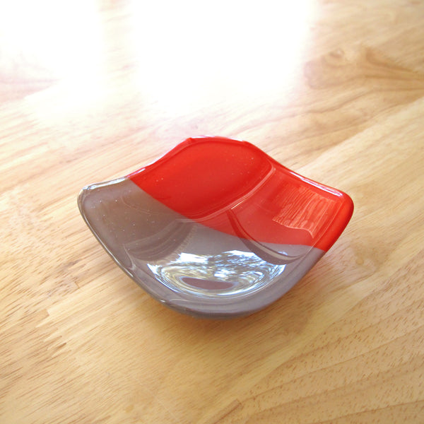 Katie Kismet red and gray catchall dish for rings, candles, cone incense (top view)