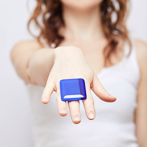 Cobalt Square Statement Ring