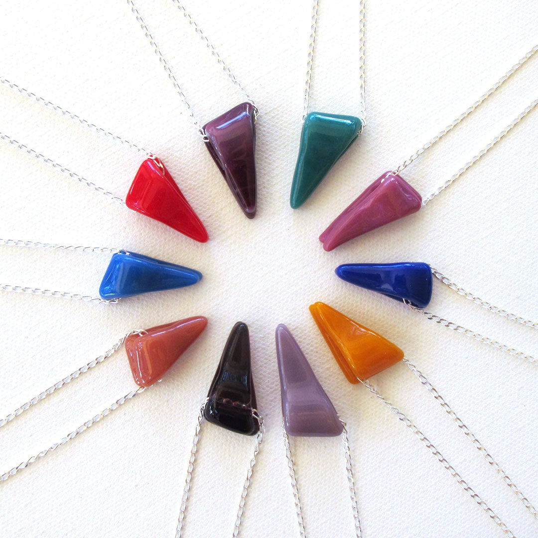 Glass wedge pendant necklace in many colors on sterling silver chain