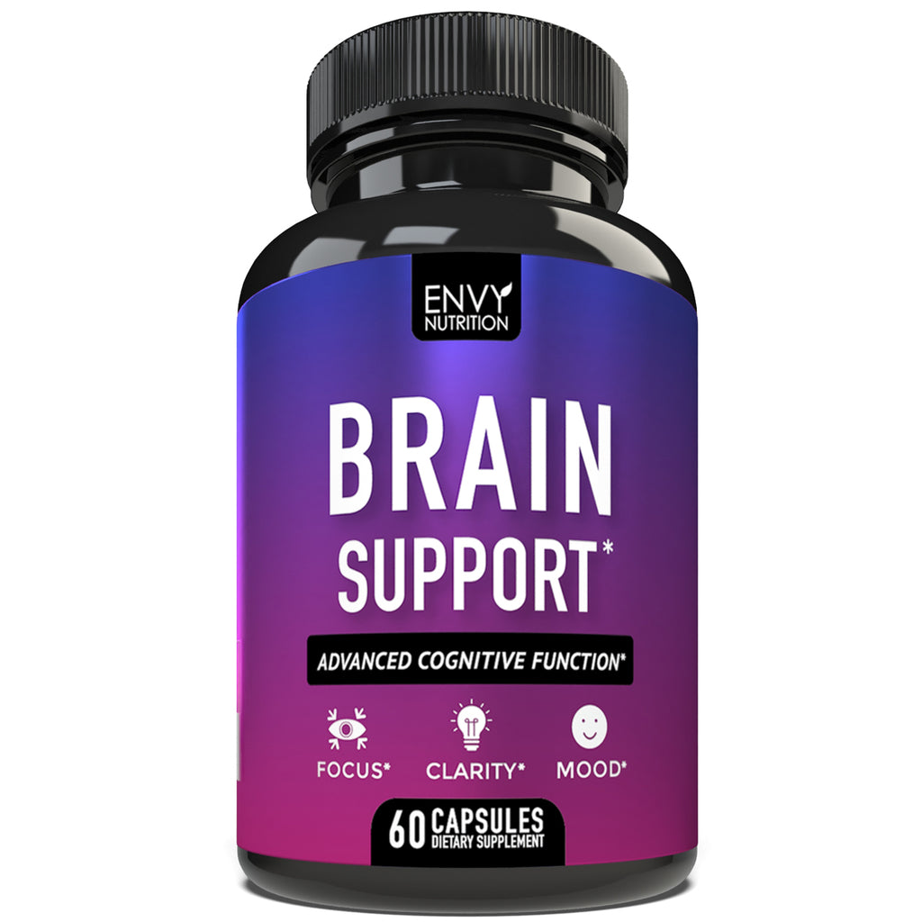 Brain Support Supplement - Advanced Cognitive Function - Boost Memory, Clarity, Mood & Focus - 60 Supplement Capsules