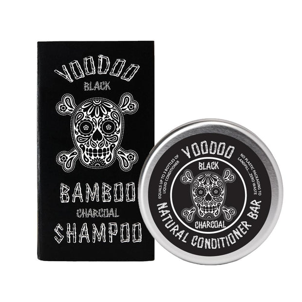 Voodoo Black Bamboo Charcoal Solid Shampoo Bar & Conditioner Bar Gift Set - Professor Fuzzworthy - Professor Fuzzworthy Beard Care