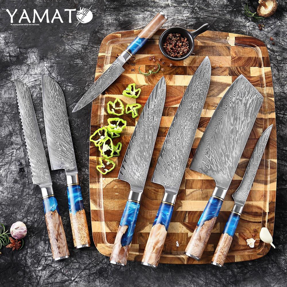 YAMATO - Lesika (霊鹿) Damascus Chef Knife Set