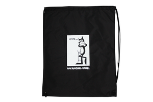 Crime Cat - Draw String Bag - Black