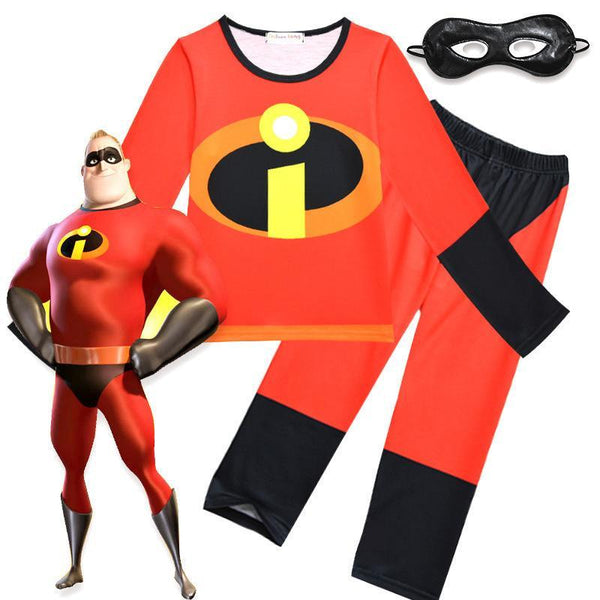 Kids Mr.Incredible Costume Suit The Incredibles Shirts and Pants with Eye Mask Halloween Costume Party Props