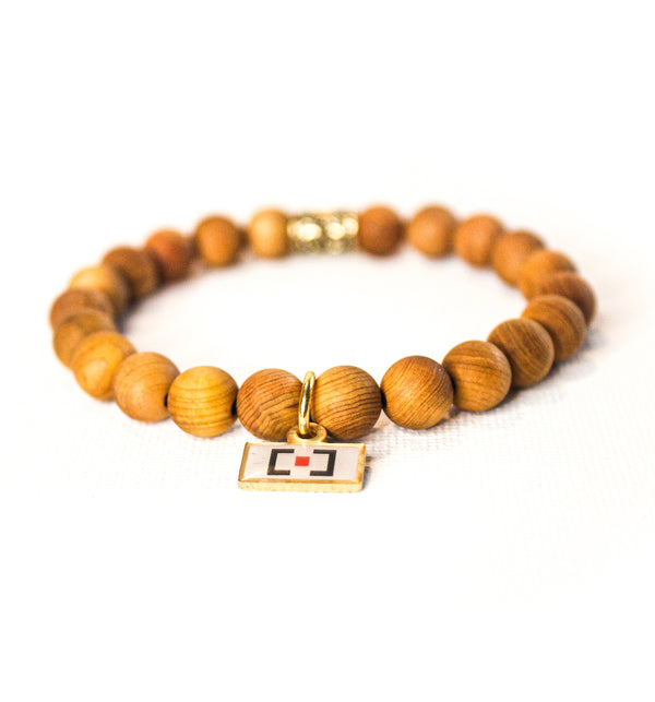Tan Wooden Beaded Bracelet