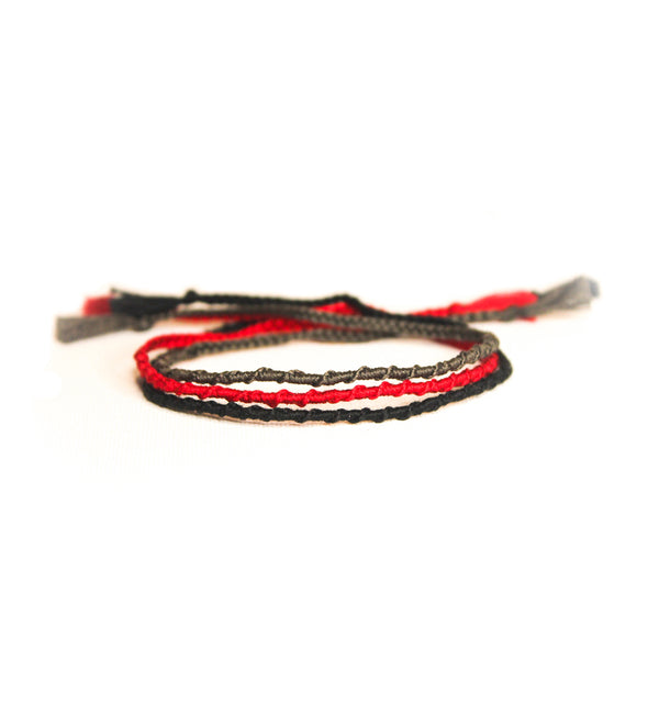 Gray Red Black Tiny Rope