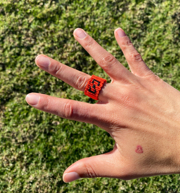 Orange with Black 1-Finger Ring