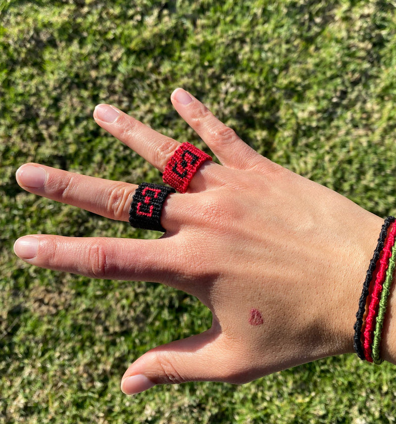 Black with Red 1-Finger Ring