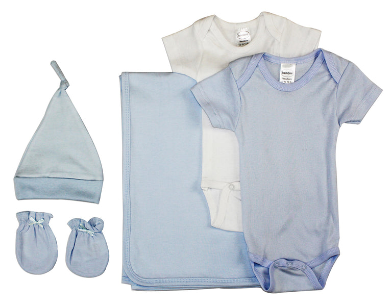Newborn Baby Boy 5 Pc Layette Baby Shower Gift Set - gobabyco