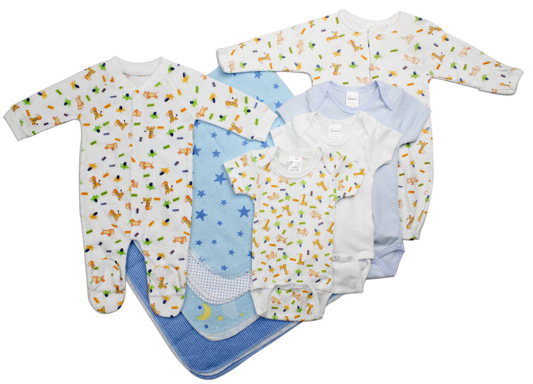 Newborn Baby Boy 9 Pc Layette Baby Shower Gift Set - gobabyco