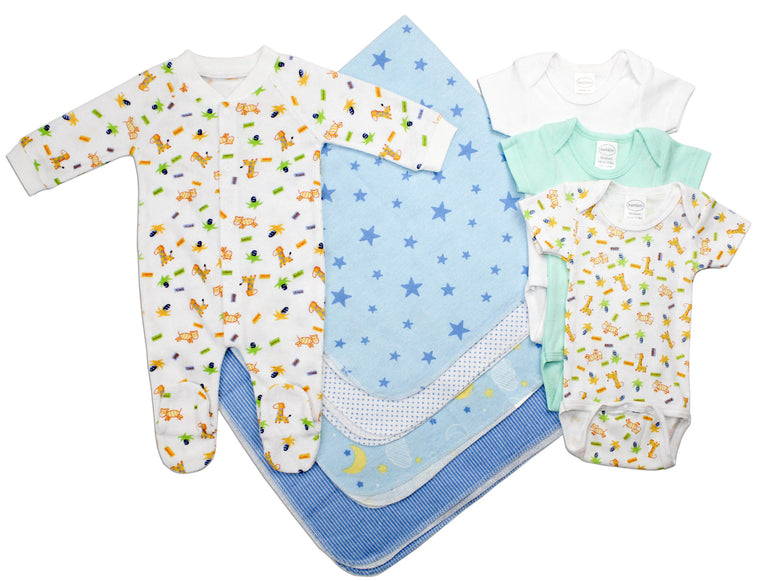 Newborn Baby Boy 8 Pc Layette Baby Shower Gift Set - gobabyco