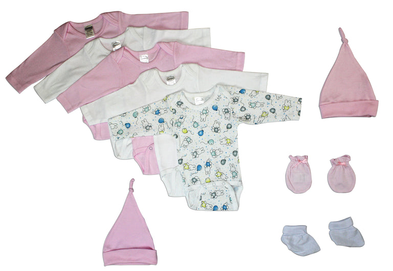 Newborn Baby Girl 9 Pc Layette Baby Shower Gift - gobabyco