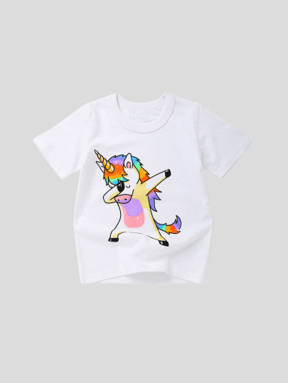 Toddler Girls Unicorn Print Tee - gobabyco