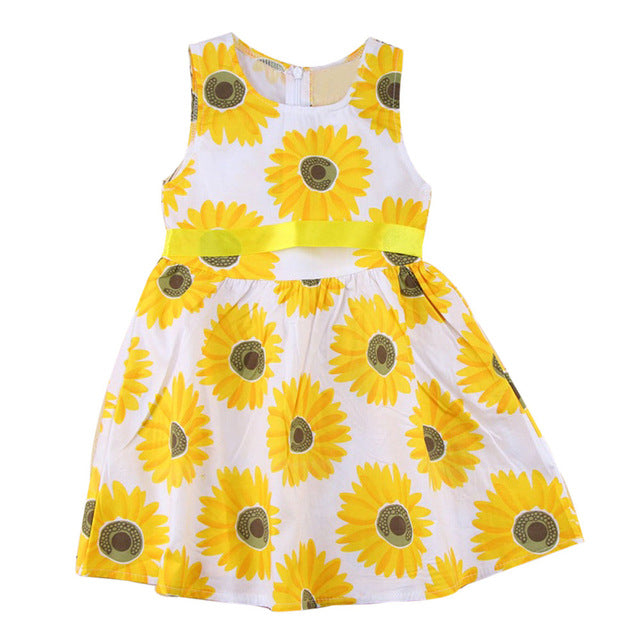 2019 Kids Girls Summer Sunflower Dress Fashion - gobabyco