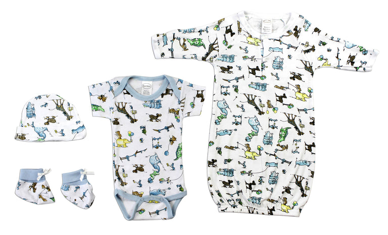 Newborn Baby Boy 4 Pc Layette Baby Shower Gift Set - gobabyco