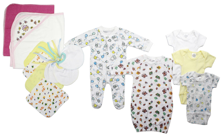 Newborn Baby Girls 14 Pc Layette Baby Shower Gift - gobabyco