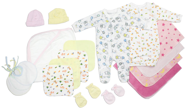 Newborn Baby Girls 18 Pc Layette Baby Shower Gift - gobabyco