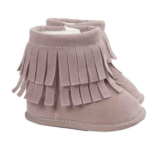 Baby Girl Moccasin & Tassel Style Soft Snow Boots - gobabyco