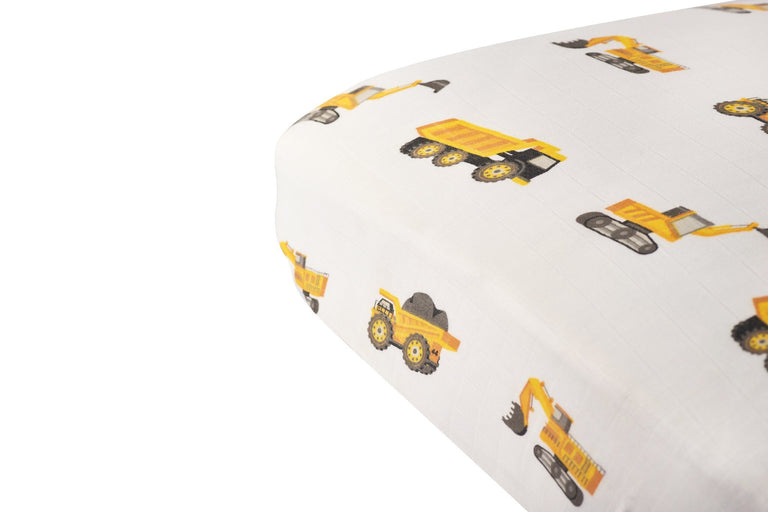 Yellow Digger Crib Sheet Yellow - gobabyco
