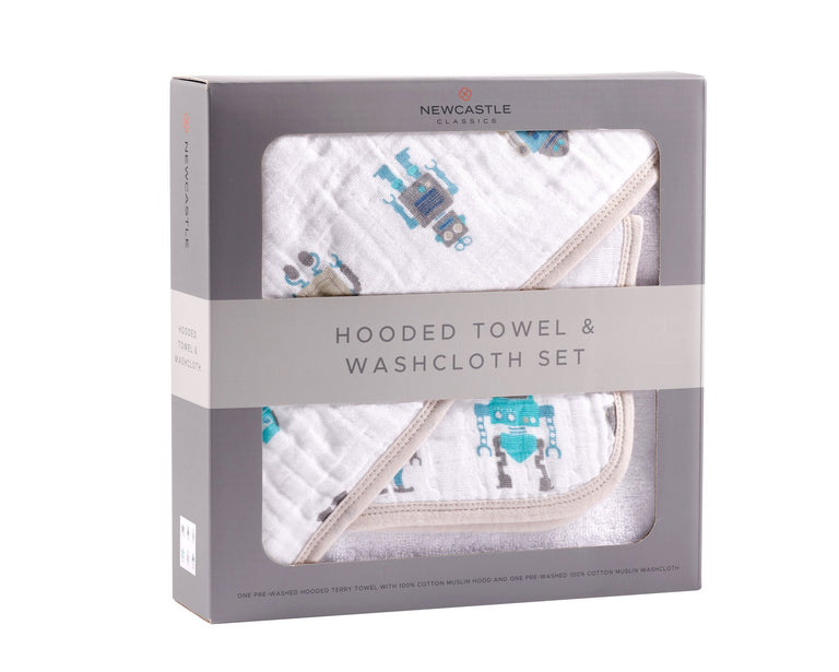 Robot Hooded Towel  and Washcloth Set - gobabyco