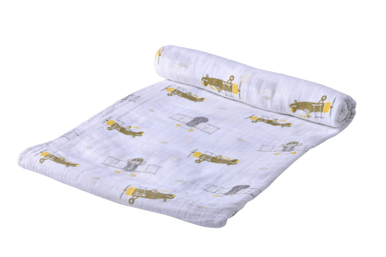 Airplane Animals Swaddle - gobabyco
