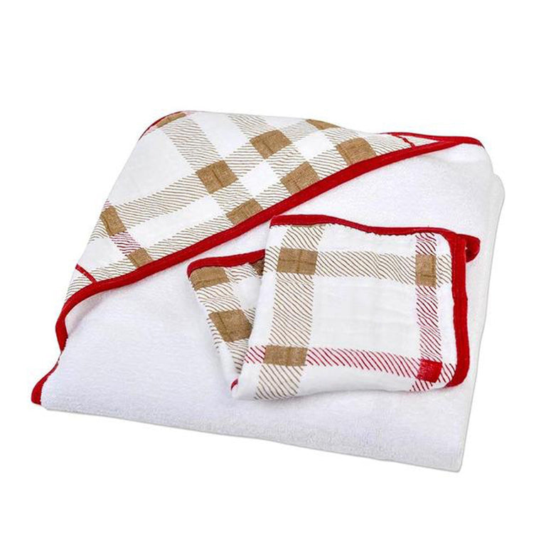 Plaid Hooded Towel and Wash-Cloth Set - gobabyco