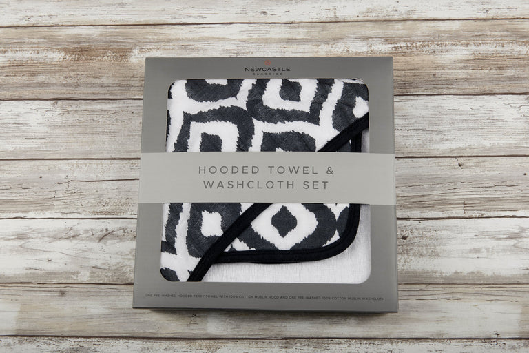Moroccan Blue Hooded Towel and Washcloth Set - gobabyco
