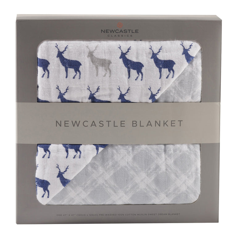 Blue Deer & Glacier Grey Newcastle Blanket - gobabyco