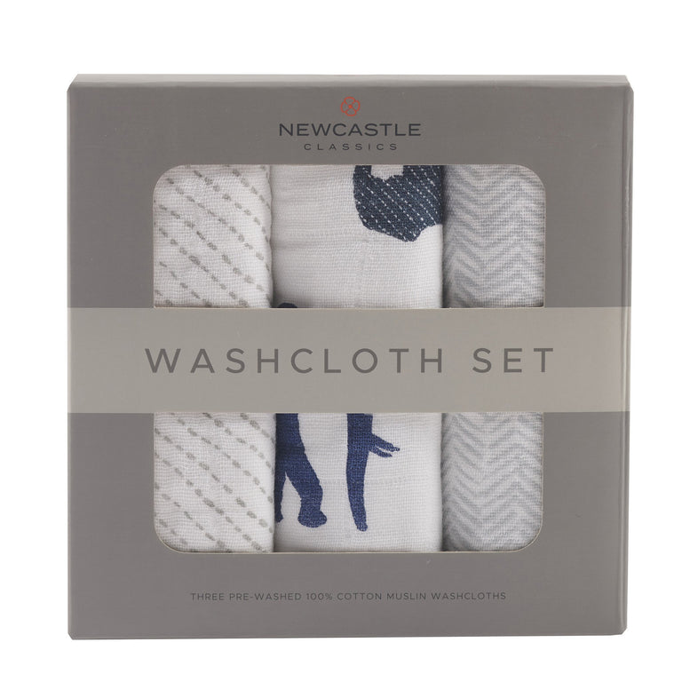 In The Wild Elephant Washcloth Set by Newcastle - gobabyco