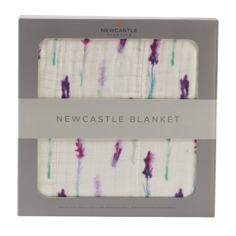 Lavender and White Newcastle Blanket - gobabyco