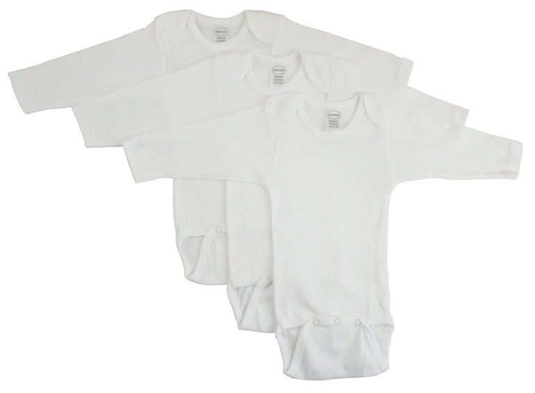 Bambini Long Sleeve White Onesie 3 Pack - gobabyco