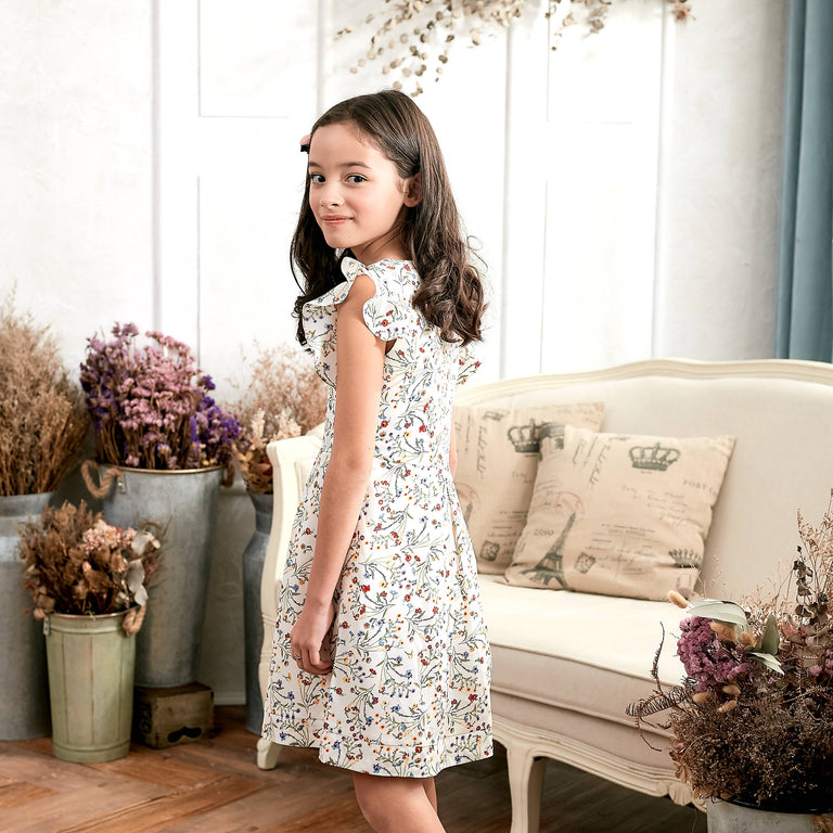 Ruffle Sleeve Floral Dress (toddler/girl) - gobabyco