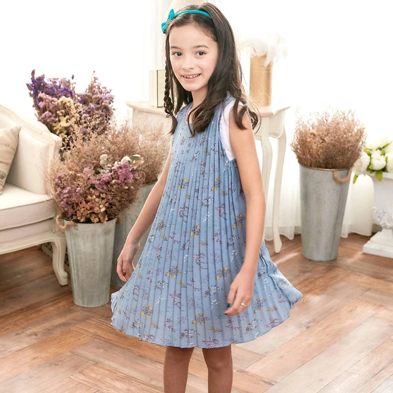 Blue Floral Dress (toddler/girl) - gobabyco