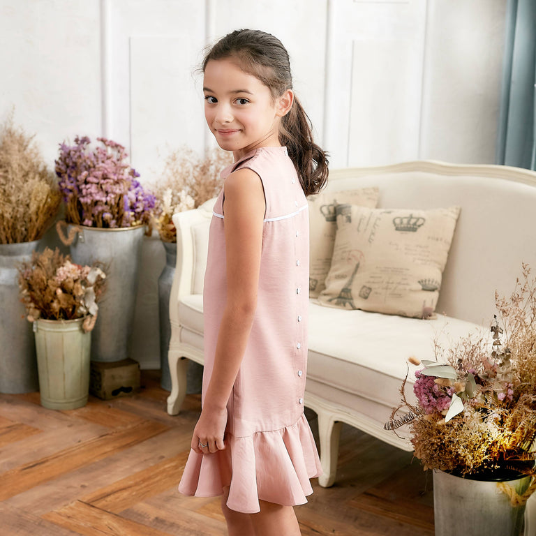 Pink Ruffle Drop Waist Dress (toddler/girl) - gobabyco