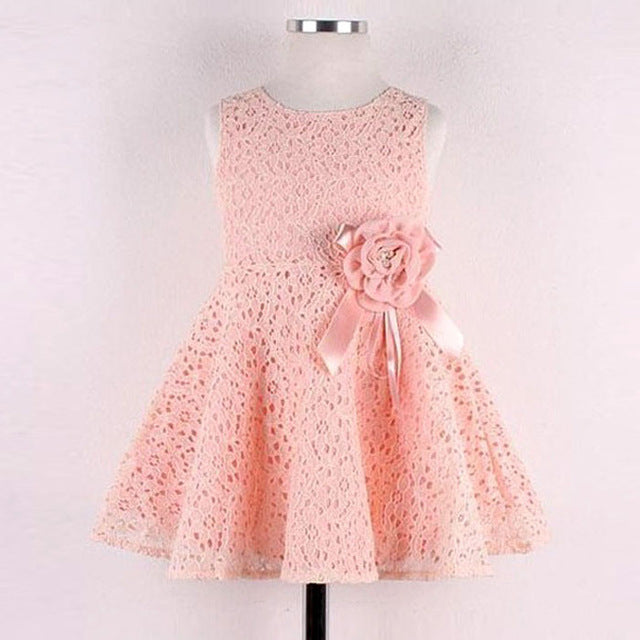 fashion baby Girls Kids dress Full Lace Floral One - gobabyco