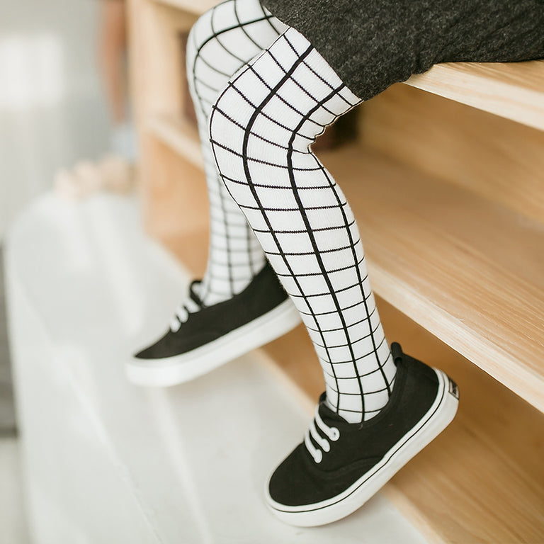 Black and White Checker Stockings - gobabyco