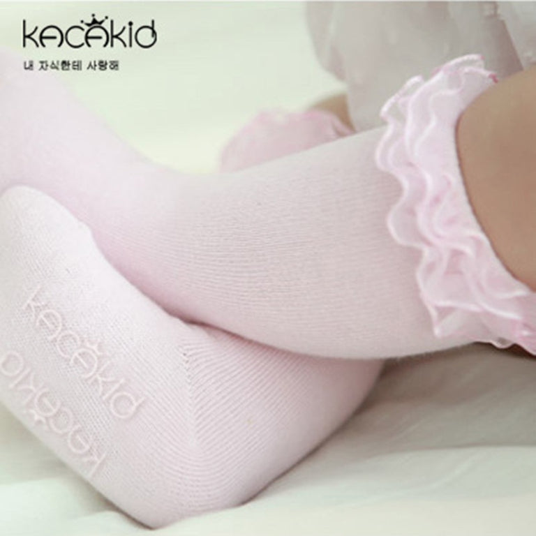 Lace Ruffle Girls Knee High Socks - 10 Pairs in each order - gobabyco
