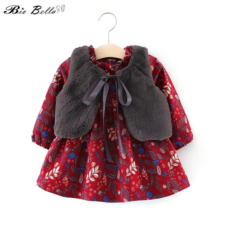 Adorable Faux Fur Vest with Floral Printed Dress - gobabyco