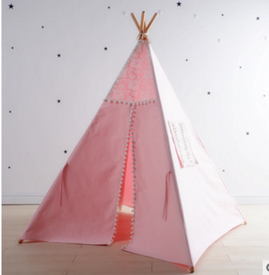 Cotton Lace Accents Playhouse Teepee for Girls - gobabyco