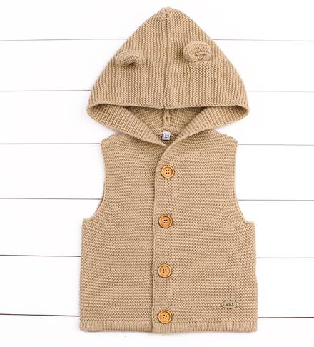 Hooded Bear Ears Sleeveless Knitted Cardigan - gobabyco