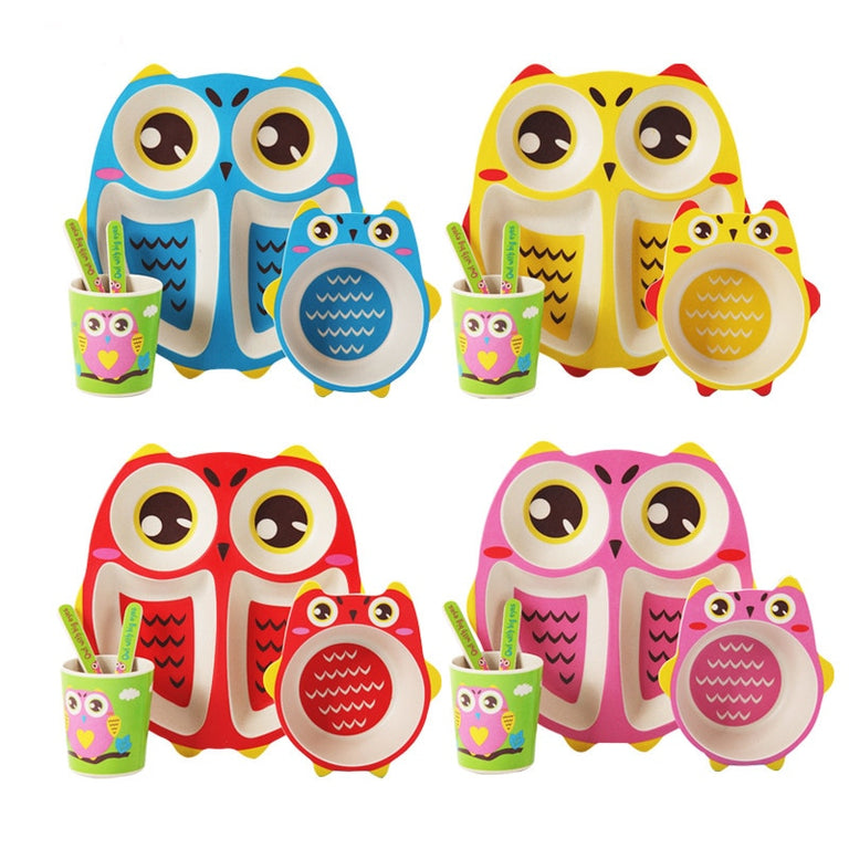 Creative Owl Baby Dinnerware Set made from Bamboo Fiber With Forks, Spoons, Cups and Tableware - gobabyco
