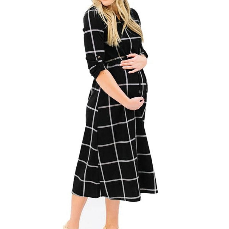 Classic Print Maternity Dress - gobabyco