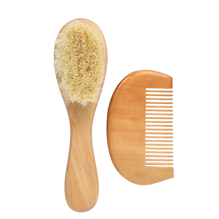 Soft Wool & Wood Baby Brush & Comb Set - gobabyco