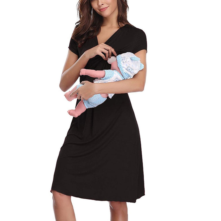 Evening Maternity Dress with Pull Down Nursing Access - gobabyco