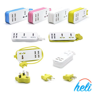 Travel Charging Power Strip - 4 Port USB -5ft Extension Power Supply Cord