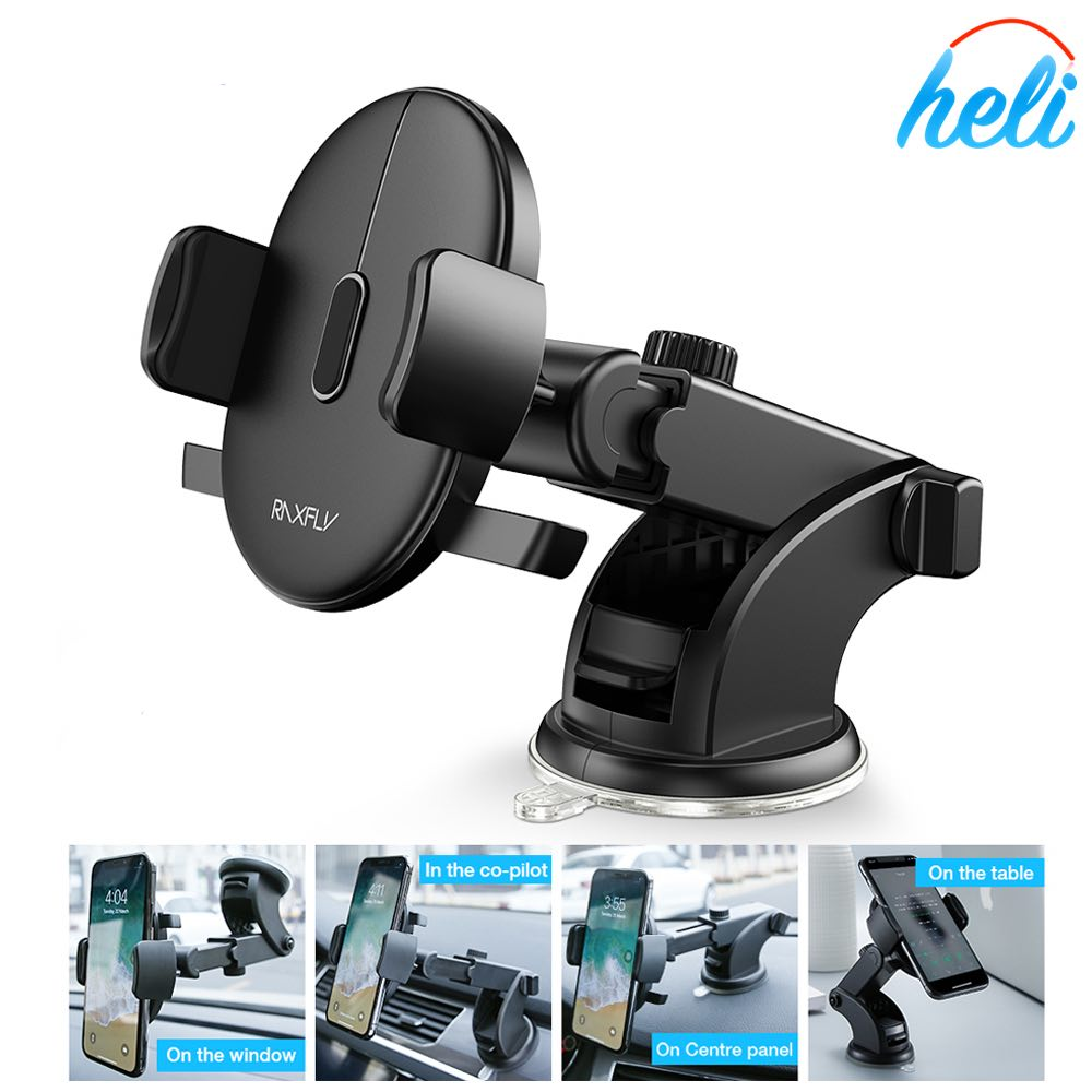 Universal Fit, Easy One Touch - Dashboard & Windshield Car Phone Stand Holder - 360° Rotation