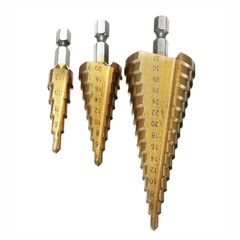 Titanium Coated Straight and Spiral Step Drill Bit Set